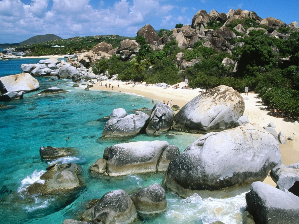 Stranden The Baths Virgin Gorda Britse Maagdeneilanden